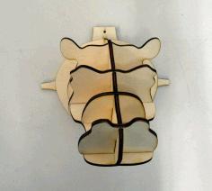 Laser Cut Hippo Head Wall Decor Animal Head Trophy Free DXF File