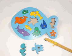 Laser Cut Wooden Fish Puzzle Educational Toy Sea Creature Peg Puzzle Free CDR Vectors Art
