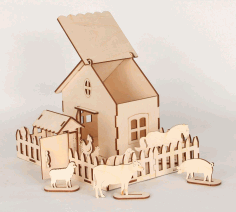 Laser Cut Wooden Game Set Farm Animals And Box Free CDR Vectors Art