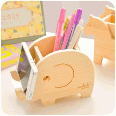 Wood Animal Elephant Phone Holder Pen Pencil Holder Laser Cut Free CDR Vectors Art