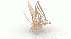 Butterfly Wood Insect 3d Puzzle 3mm Free DXF File