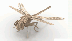 Dragonfly Insect 3d Wood Puzzle 3mm Free DXF File