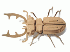 Beetle Insect 3d Wood Puzzle 3mm Free CDR Vectors Art