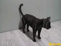Cat Standing 3d Puzzle Laser Cut 4mm Free CDR Vectors Art