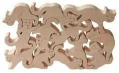Laser Cut Cats Puzzle Free CDR Vectors Art