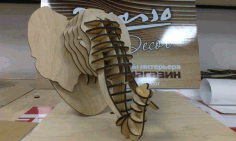Laser Cut Elephant Head 3d Puzzle Free CDR Vectors Art