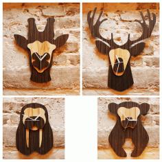 Jungle Animal Heads Shaped Wall Clocks Laser Cut Free CDR Vectors Art