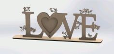 Laser Cut Love Frame Design Free DXF File