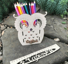 Owl Desk Organizer Pencil Holder For Laser Free DXF File