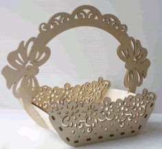 Laser Cut Basket Wooden Free CDR Vectors Art