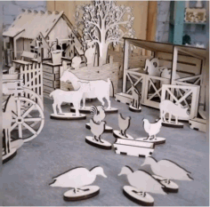 Laser Cut Wood Farmhouse Toy Free CDR Vectors Art