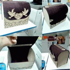 Laser Cut Wooden Wedding Box Free CDR Vectors Art