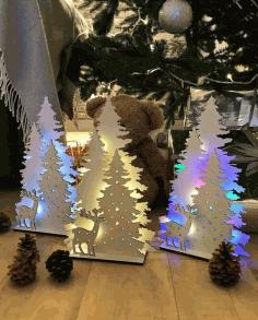Christmas Tree Laser Cut Template Free CDR Vectors Art