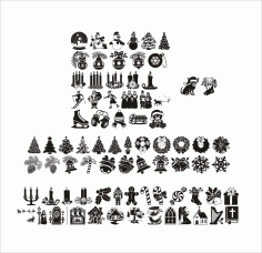 Christmas Tree Ornament Decoration Collection Free CDR Vectors Art