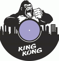 King Kong Vinyl Record Wall Clock Laser Cutting Free CDR Vectors Art