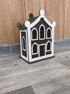 Laser Cut Beautiful Wooden House Free CDR Vectors Art