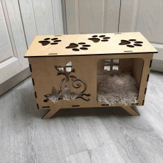 Laser Cut Cat House Template Free CDR Vectors Art