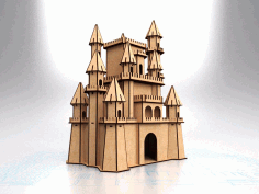 Laser Cut Fantasy Castle Model Free CDR Vectors Art