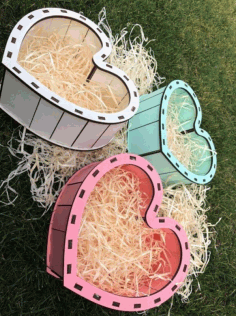 Laser Cut Heart Wood Box Template Free CDR Vectors Art
