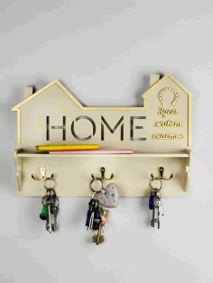 Laser Cut Home Key Hanger Free CDR Vectors Art