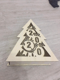 Laser Cut New Year Christmas Tree Shape Box Free CDR Vectors Art