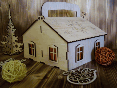 Laser Cut Plywood House Free CDR Vectors Art