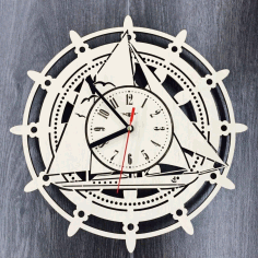 Laser Cut Sailing Ship Wall Clock Free CDR Vectors Art