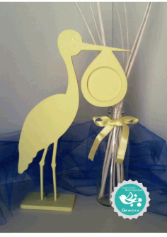 Laser Cut Stork Photo Frame Free CDR Vectors Art