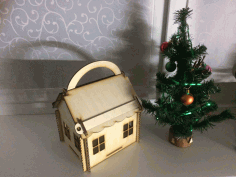 Laser Cut Wooden Xmas House Free CDR Vectors Art