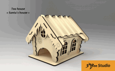 Laser Cut Santa Tea House Model Free CDR Vectors Art