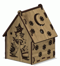 Lasercut Wooden House Model Free CDR Vectors Art