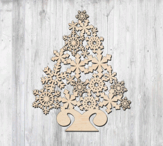 Snowflake Christmas Decorative Tree Free CDR Vectors Art