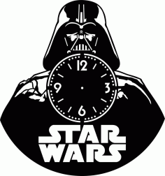 Star Wars Vinyl Record Wall Clock Laser Cutting Free CDR Vectors Art