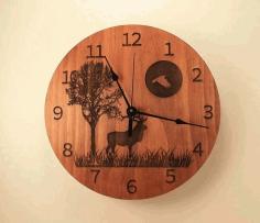 Laser Cut Engraving Deer Clock Free CDR Vectors Art