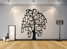 Laser Cut Family Tree Photo Frames Template Free CDR Vectors Art