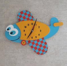 Laser Cut Fish Shaped Wall Clock Free CDR Vectors Art