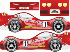 Laser Cut Krovatka Rally Sports Car Free CDR Vectors Art