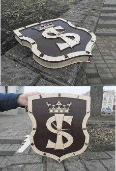 Laser Cut Emblem Design Clock Free CDR Vectors Art