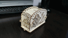 Laser Cut Wooden Bank For March 8 Free CDR Vectors Art