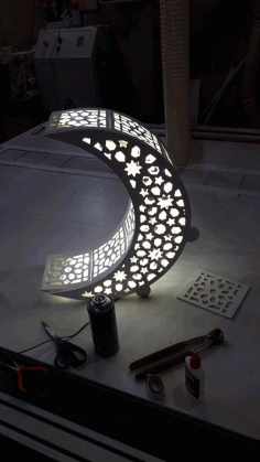 Laser Cut Moon Shaped Night Light Lamp Free DXF File
