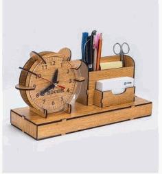 Laser Cut Organizer Clock Pen Slip Pad Holder Free DXF File