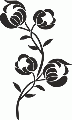Silhouette Flower Stencil Free DXF File