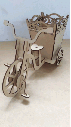Laser Cutting Tricycle With Pan Gift Free CDR Vectors Art