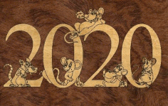 Template 2020 Laser Cut New Year Free CDR Vectors Art