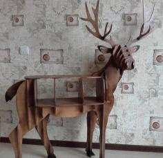 Laser Cut Deer Furniture Shelf Free DXF File