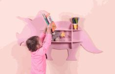 Laser Cut Dinosaur Shelf Furniture Free DXF File