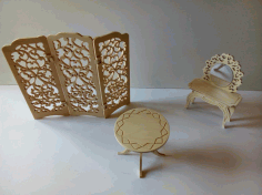 Laser Cut Wooden Room Divider Folding Screen With Furniture Coffee Table Dressing Mirror Table Dxf File Free DXF File