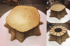 Tree Base Table Stool Chair Plywood Free DXF File