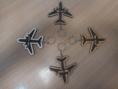 Laser Cut Engraved Airplane Keychain Free DXF File