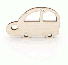 Laser Cut Retro Car Keychain Wooden Key Ring Free CDR Vectors Art